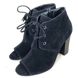 XOXO Black faux Suede Peep Toe tie up Block heels